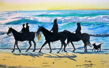 Horses and Dog on Beach: Tim Barraud