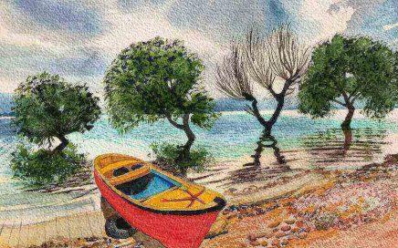 Red Boat On Lake: Tim Barraud